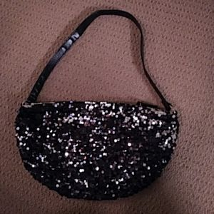 Sequin Evening Purse Black & Silver    *4 for $13*